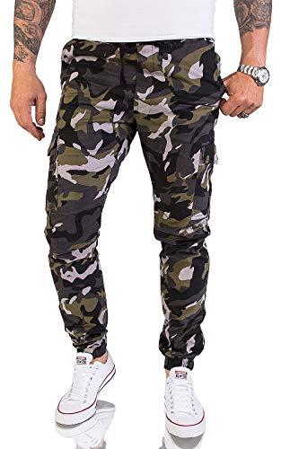 Rock Creek Herren Cargohose Chinohose Outdoor Herrenhose Tapered Jogging Pants Hose mit Taschen Beintaschen Männer H-179 Camouflage W32 L34