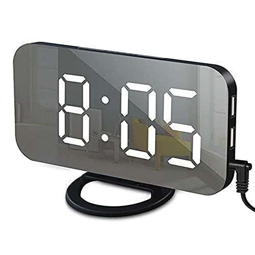 Yousiju Reloj Despertador LED Digital Espejo 2 Puertos de Cargador USB Luz Nocturna Reloj de Mesa LED Función de repetición Relojes de Escritorio de Brillo Ajustable (Color : White)