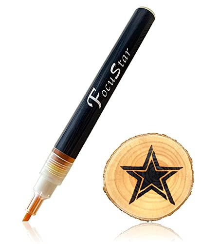 FocuStar Scorch Pen Marker - Chemical Wood Burning Pen - Wood Burning Marker for DIY Wood Projects, Round Tip and Oblique Tip - Reversible Fine Tip