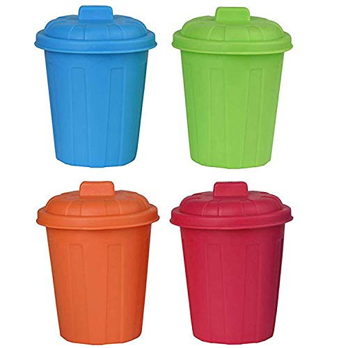 Plastic Mini Garbage Cans Toy Playset - Assorted Color Holder Containers Used for Pencil Holder, Desktop Organizer, Fun Playing, Novelty and Party Favors Multicolored 3.5'x3.5'x4' (4 Pack)