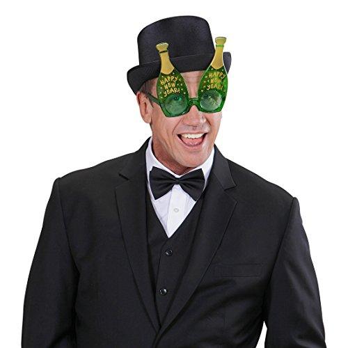 Amakando Lunettes Motif Nouvel an Bouteille de Champagne fête de Fin d'année Vert Happy New Year Lunettes rigolotes soirée de 31 décembre déguisement