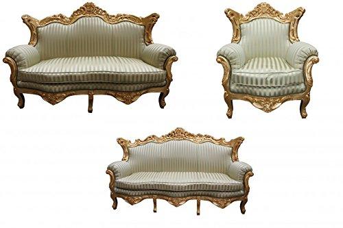 Casa Padrino Barock Wohnzimmer Set Jadegrün/Gold - 3er Sofa+2er Sofa + 1 Sessel
