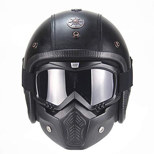 boaber Casco de piel ABS para motocicleta, estilo retro, con diseño de casco de Harley para montar a caballo, 3/4 (incluye máscara) (color: negro, tamaño: XL)