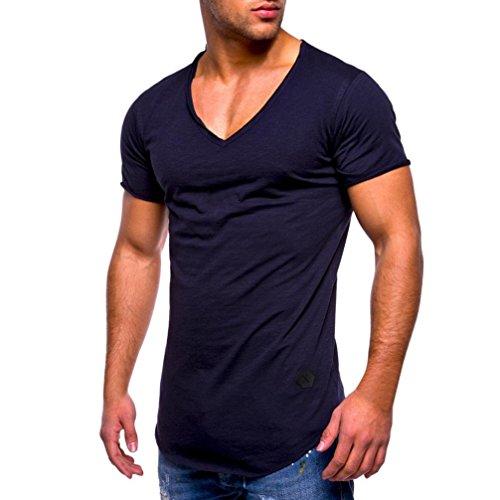 Yvelands Casual Muscle Camiseta de Manga Corta para Hombre Casual Guapo con Cuello en V de Color sólido Slim Fit Daily Shirts Top Blusa Party Beach Work Summer, Cheap Clearance! (Armada, XXXL)