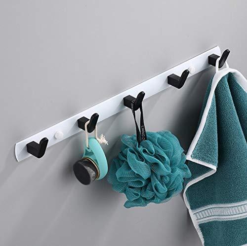 Gancho decorativo negro blanco gancho para la bata de baño ganchos para toallas bolsa de toallas gancho para colgar ropa en la pared, gancho para colgar ropa de baño (color: negro - 4 ganchos)