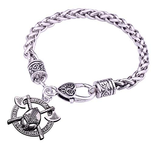 XKMY Pulseras Lucky Amulet Vikingo Hombres Eslavo Amuleto Espada Casco Charm Pulseras Joyería Color Plateado