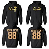 King and Queen Custom Couple Hoodie Customized Names & Number for him and her Personalized Matching Couples