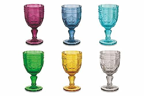 Villa d'Este Home Tivoli 2191709 Syrah Set 6 Calici Vino, Vetro, Multicolore
