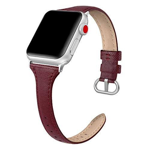 SWEES Leather Band Compatible for iWatch 38mm 40mm, Slim Thin Dressy Elegant Genuine Leather Strap Compatible for iWatch Series 6, 5, 4, 3, 2, 1, SE, Sport & Edition Women, Wine Red