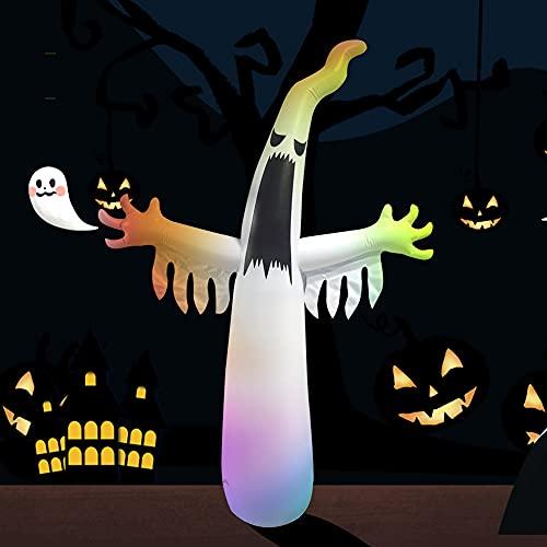 8 pies Halloween inflable al aire libre fantasma con caleidoscopio luces LED horror aterrador accesorios jardín patio Halloween fiesta decoración