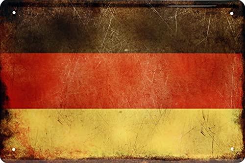 Länder flagga nationella flaggor flagga dekoration plåtskyltar väggskylt dörrskylt (20 x 30 cm, Tyskland Alemania 1181)