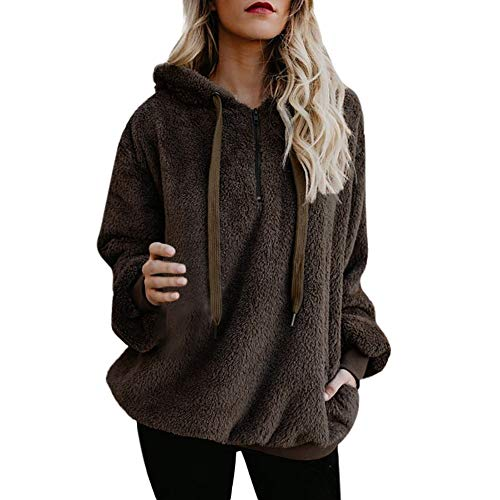 Fantastic Deal! Womens Winter Sherpa Pullover Fuzzy Faux Shearling Shaggy Warm Fleece Sweatshirt Ove...