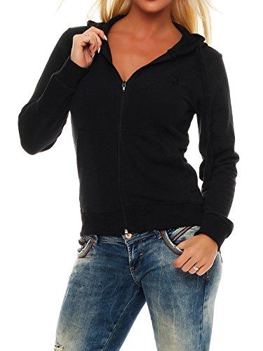 Gennadi Hoppe Sweatshirt Jacke Damen Trainingsjacke (M, Schwarz)