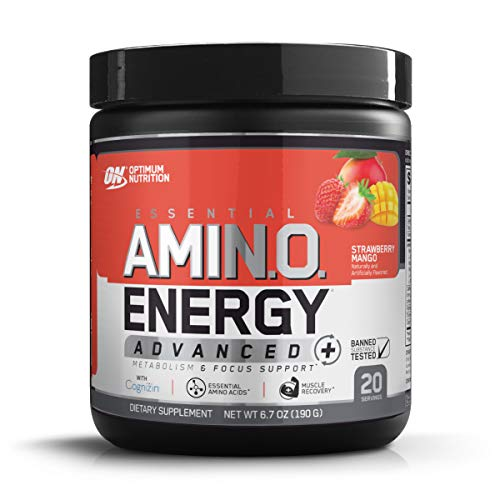 Optimum Nutrition Essential Amino Energy Advanced Plus Metabolism and Focus Support, Strawberry Mango, 20 Servings