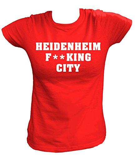 Artdiktat Damen T-Shirt - Heidenheim Fucking City Größe L, Rot