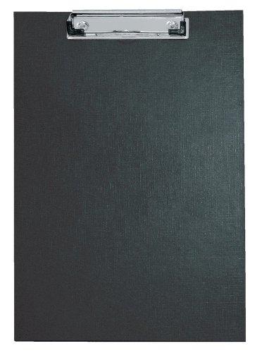 Veloflex 4814080 - schrijfblad A4, PVC-folie, met speciale klem, ophangoogje, doorzichtige tas, zwart