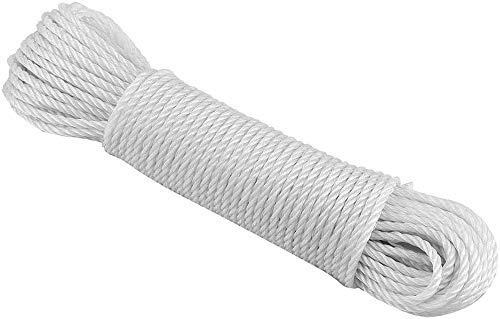 EUROXANTY® Cuerda para Tender Ropa | Resistente y Duradera Azoteas y Campings | Cuerda De Acampada Blanca 15mx 6mm