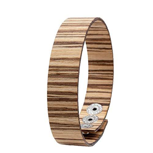 LAiMER Holzarmband - Damen & Herren Armband/Armreif aus Feinem Holz - Größenverstellbar 55-65 mm Durchmesser aus Teakholz 15 mm breit