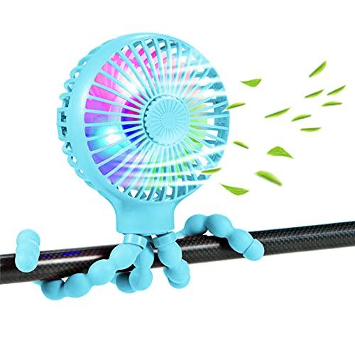 scurry Stroller Fan Upgraded Portable Fan Versatile Fan Personal Desk Fan USB Rechargeable Fan with LED Light and Aromatherapy Flexible Tripod Design Handheld Fan 3 Speeds Baby Fan for Stroller(Blue)