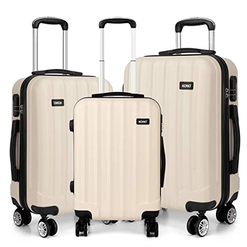 Kono Luggage Sets ABS Hard Shell Suitcases 3 Pieces 20' 24' 28' Inches 4 Wheels Suitcase (Beige Set)