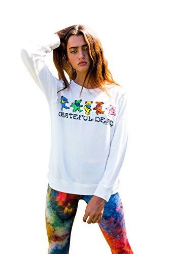 Life Clothing Co. Women's Tops Grateful Dead Dancing Bears Fleece Pullover Sweater (M) White Cream