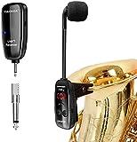 XIAOKOA Wireless Microphone,Micrófono Inalámbrico UHF,Micrófono para Instrumentos Inalámbricos,Micrófono para Saxofón,Receptor y Transmisor Inalámbrico,Ideal para Trompetas, Clarinete