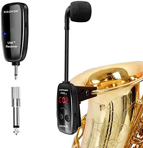 XIAOKOA Wireless Mikrofon, UHF Funkmikrofon, Mikrofon für Funkinstrumente, Mikrofon für Saxophon, Empfänger und Funksender, Ideal für Trompete, Klarinette, Cello
