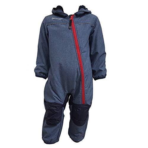 Outburst - Baby Kinder Softshell-Overall Schneeanzug gefüttert wasserdicht 10.000 mm Wassersäule atmungsaktiv Winddicht, blau Mel. - 3714254, Größe 116