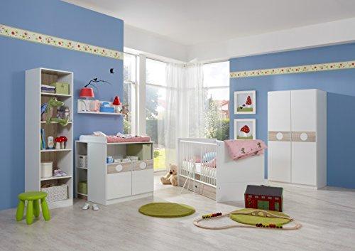 Dreams4Home Babyzimmer 'Shelly V', Babyzimmerkombination, Babyzimmer komplett, Babybett, Wickelkommode
