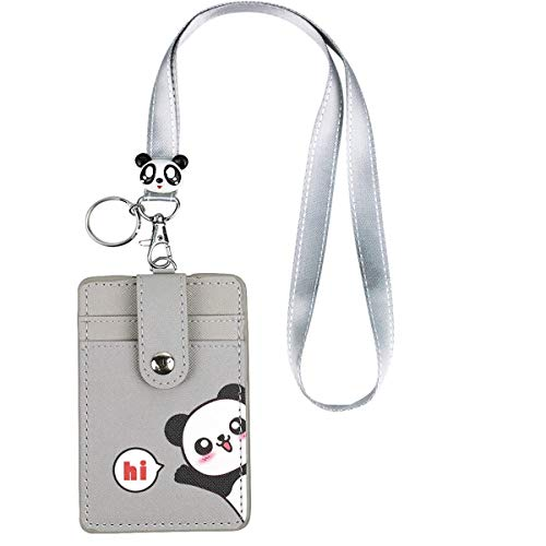 Cute Neck Pouch, Student ID Credit Card Case Holder Cartoon Shield Panda/Cat (Gray 1pc)