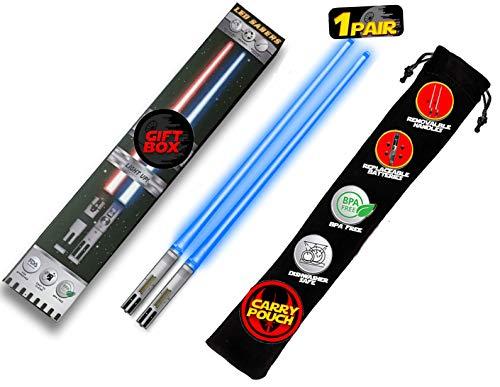 Lightsaser - Palillos de cocina con luz LED de Star Wars, con mango extraíble, aptos para lavavajillas, color azul