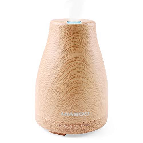 MIABOO Diffuseur Huiles Essentielles 120ml,Humidificateur d'air Ultrasonique Diffuseur de Parfum Electrique Silencieux Arrêt Automatique 'arômes avec Mode Brume Réglable & 7 Couleurs de LED
