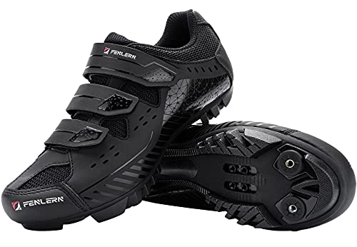 Fenlern Zapatillas de Ciclismo para Hombre,Zapatos de MTB,con Suela de Carbono y Triple Tira de Ajustable de Correa (Roca Negra,EU 41)