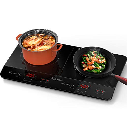 Aobosi Induction Hob Double Induction PlateSensor Touch ControlBlack Crystal Glass Plate Surface Power Setting and Timer Function1800W