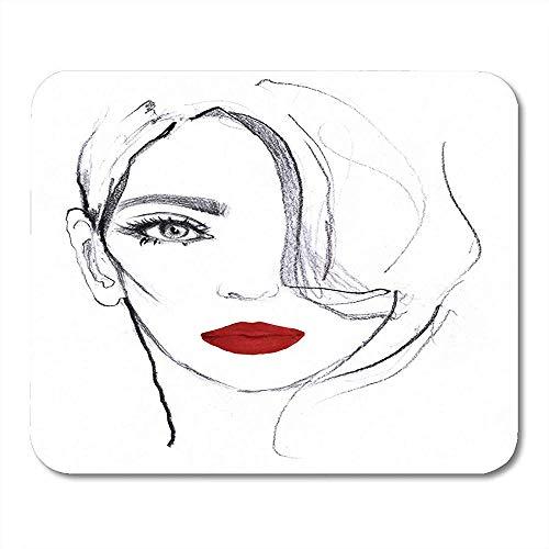 Mousepad Mädchen-Porträt Des Vorbildlichen Gesichts Der Jungen Frau Der Roten Lippenweißer Und Schwarzer Bleistift-Skizzen-Rosa-Markierungs-Aquarell-Mausunterlage Matten 25X30Cm