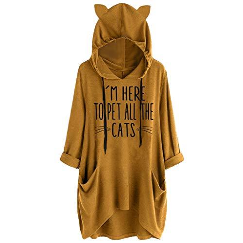 WRWYOSF Damen Kapuzenpullover Grafik Sweatshirts Bluse Tops mit Taschen Sweatshirt Long Sleeve Hoodies Katzenohren Cat Graphic