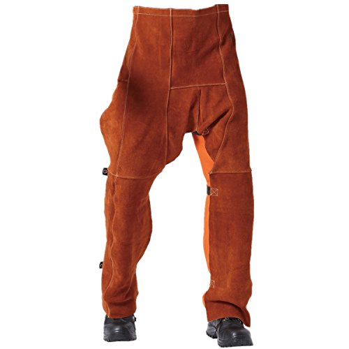 """Welding Chaps Leather Welding Flame/Abrasion Resistant Trousers Cowhide Leather Worker Britches Working Pants (91X58CM (36X22.8"""")) Coffee"""
