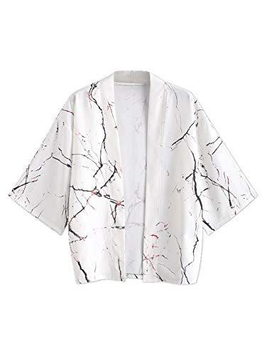 ZAFUL Chaqueta Kimono para Hombre, Estilo japonés, Estilo Cardigan, para Primavera, Verano Blanco XXL