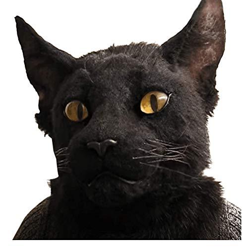 Halloween Maske, Adler Tier Maske Kopf/Schwarze Katze Maske Fasching Cosplay Kostüm Latex Maske für Party Halloween Erwachsene