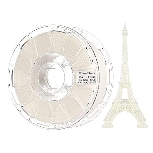 PLA-Filament 1,75 mm, Comgrow PLA 3D-Druckfilament Schwarz, Maßgenauigkeit +/- 0,02 mm, 1 kg (2,2 LBS) Spule, PLA Weiß