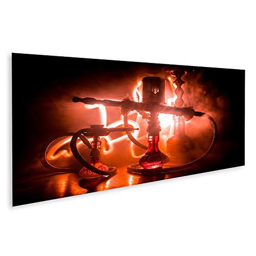 Bild auf Leinwand Hookah heiße Kohlen auf Shisha-Schale Macht Dampfwolken Shisha-Explosion Stilvolle orientalische Shisha im Dunkeln mit Feuer Für Shisha-Werbung Bilder Wandbild Poster Leinwandbild
