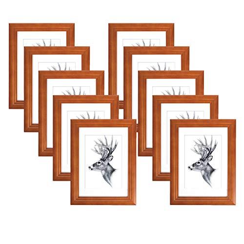 WOLTU 10er Set Bilderrahmen,13x18cm Artos Stil Holzrahmen Fotogalerie Glasscheibe,Braun