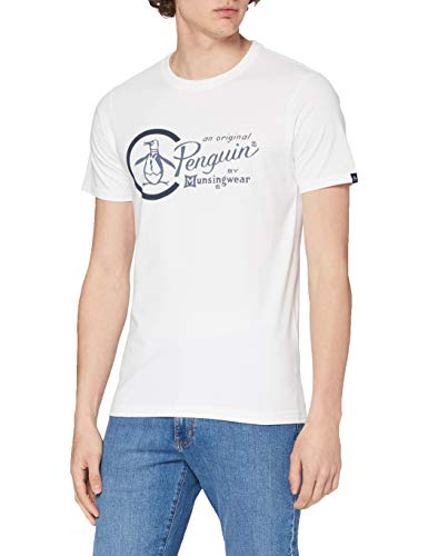 ORIGINAL PENGUIN Combo Logo Camiseta, Blanco (Blanco Brillante), M para Hombre