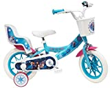 Disney Vélo 12' Reine des Neiges (Frozen) équipé de 2 Freins, Panier Avant & Porte poupée arrière + 2 stabilisateurs Amovibles Fille, Bleu Turquoise, Blanc et Fushia