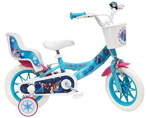 Disney - Bicicletta 12' Frozen (Frozen) dotata di 2 freni, cestino anteriore e porta bambola posteriore + 2 stabilizzatori rimovibili, da bambina, colore: Turchese, Bianco e Fucsia