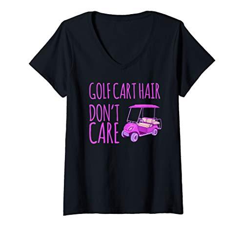 Womens Funny Golf Cart Hair Don't Care V-Neck T-Shirt