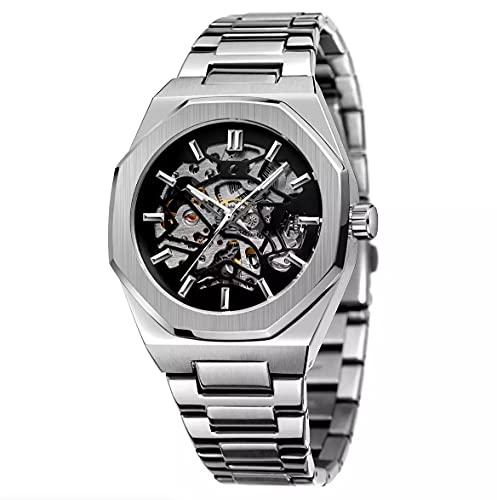 Pririo Reloj de pulsera automático para hombre, esqueleto, acero inoxidable, resistente al agua, con parte trasera de cristal
