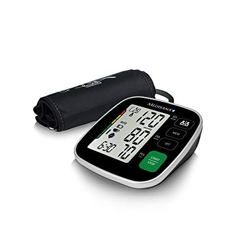 Medisana BU 546 connect Oberarm-Blutdruckmessgerät mit großer Manschette, Arrhythmie-Anzeige, Bluetooth, WHO-Ampel-Farbskala, für präzise Blutdruckmessung und Pulsmessung mit Speicherfunktion