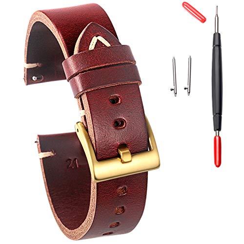 Correa de reloj de cuero Hemsut, correa de reloj para hombres y mujeres, de Horween Chromexcel de liberación rápida hecha a mano correa de reloj suave vintage reemplazo de 18 mm, 20 mm, 22 mm