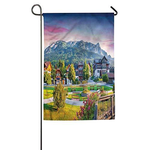 "ParadiseDecor Landscape Home Garden Flags Decorative Flag for Halloween, Thanksgiving Small Village in Austria 12"" W x 18"" L"